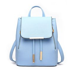 Faux Leather Backpack (455 ARS) ❤ liked on Polyvore featuring bags, backpacks, yesstyle, flap backpack, draw string bag, blue drawstring backpack, draw string backpack and drawstring flap backpack