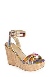 Stuart Weitzman 'Annexbingo' Shimmer Plaid Platform Wedge Sandal (Women)