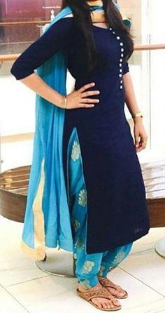 Shop salwar suits online for ladies from BIBA, W & more. Explore a range of anarkali, punjabi suits for party or for work. Designer Salwar Kameez, Designer Kurtis, Designer Sarees, Salwar Designs, Patiala Suit Designs, Blouse Designs, Punjabi Salwar Suits, Punjabi Dress, Patiala Salwar