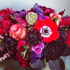 Red anemone, dianthus, chocolate dahlia, celosia, coxcomb, smokebush, imagination rose, scabiosa, scabiosa pods. Flowers by Sullivan Owen