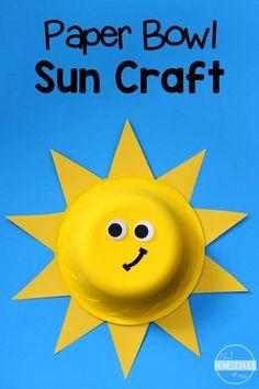 Paper Bowl Sun Craft - super cute, easy-to-make summer craft for kids form toddler, preschool, prek, kindergarten, first grade, and more
