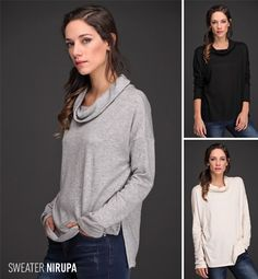 El Sweater Nirupa es ideal para enfrentar la temporada. Realizado en lanilla angora, muy suave al tacto, su cuello volcado y ruedo irregular con tajitos laterales hacen de este sweater una prenda femenina y versátil. Miralo en sus 4 talles y 3 colores.