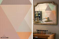 Los colores pastel de Autentico son ideales para hacer un mural de formas geométricas. Un tutorial de OPENstudio79.