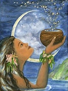 Hina the Moon Goddess Hawaiian Mythology, Hawaiian Goddess, Hawaiian Legends, Hawaiian Art, Polynesian Art, Polynesian People, Moon Goddess, Earth Goddess, Goddess Art
