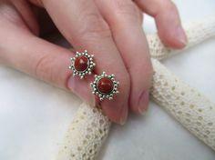 Red Jasper earrings Red earrings Red Jasper posts by Inspiredby10, $19.00