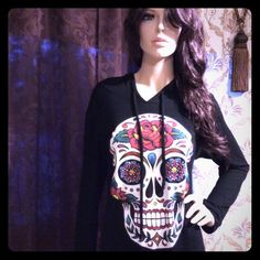Spotted while shopping on Poshmark: Gorgeous Sugar Skull Black Hoodie Tunic Top ! #poshmark #fashion #shopping #style #Tops