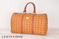 MCM Cognac Visetos PVC / Brown Leather Travel Bag