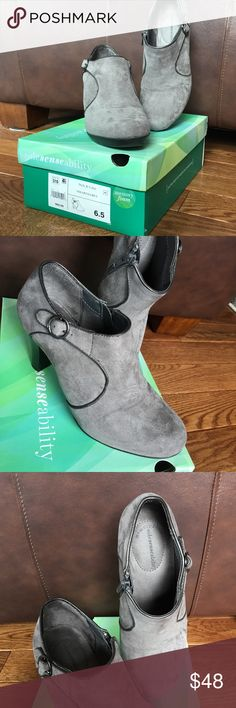 Gray Memory Foam Zip Up Booties Worn one day for a few hours. Excellent condition. I just look weird in booties. Shoes Ankle Boots & Booties