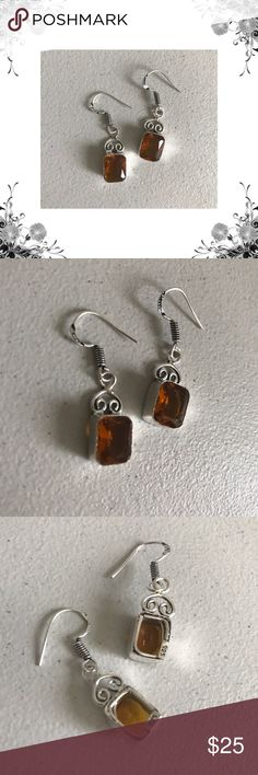 """Quartz Citrine Boho Chic Drop Earrings Bronze composite metal with silver overlay. Created quartz citrine. Handmade and one of a kind! Approx 1 1/2"""" for n total length including hook. Bundle for discounts! Thank you for shopping my closet! Jewelry Earrings"""
