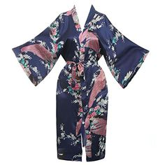 Missfashion Womens Kimono Robe Peacock  Blossoms Satin Nightwear Long XLNavy Blue * To view further for this item, visit the image link.