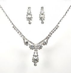 Amazon.com: Bold and Elegant New Jewelry Set - Bridal Formal Prom: Silver with Imported Crystal / Rhinestone: Jewelry