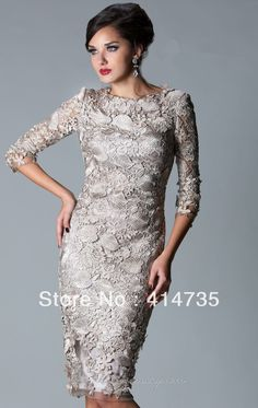 Fashion Elegant Modern Cap Sleeve Lace short petite Gray Mother of the Bride Dresses Plus size Knee Length Custom Made US $145.00