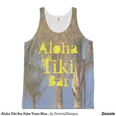 """Aloha Tiki Bar"" is written in a fun, sunny yellow text on the Front of Unisex Tank Top.   Front and Back has Three Palm Trees Blowing in the Ocean Breeze against a pretty Blue Sky on All-over Printed Unisex Tank Top.  Available for Women and Men in sizes X-Small, Small, Medium, Large, X-Large.  Photo taken at Point Pleasant Beach Boardwalk, NJ.  Original Photography & Slogan Quote Text Saying Graphic Design ©  TamiraZDesigns via:  www.zazzle.com/tamirazdesigns*"