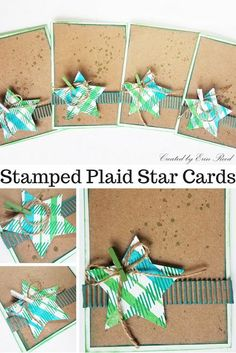 Rustic Plaid Star Christmas Cards for a Card Swap