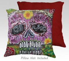 "Day of The Dead Sugar Skull 18 x 18"" Pillow Covers Unique Home Decor Mexican Red #ArtOfWhere"
