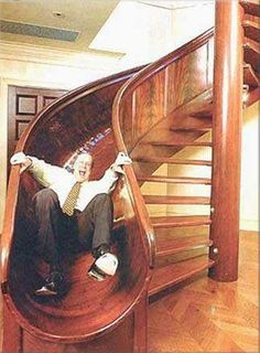 This is what I need. A slide for my stairs. To curve around that firepole...