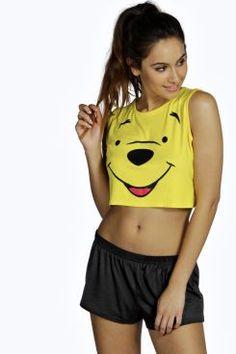 4a668560ac4e Disney Winnie Crop Vest and Short Set at boohoo.com Push Up Lingerie