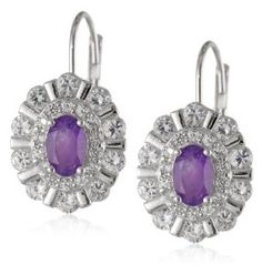 Sterling Silver African Amethyst and Created White Sapphire Oval Lever Back Earrings available at joyfulcrown.com