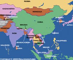 cool Asia tourist destinations map