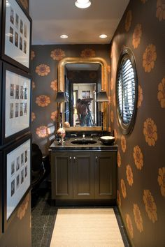 Wallpaper ideas and design with 57 photos by Anne Reagan Orange Wallpaper, Love Wallpaper, Wallpaper Ideas, Powder Room Wallpaper, Shower Inspiration, Magnolia Homes, Bath Design, Beautiful Bathrooms, House Rooms
