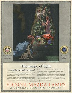 """Edison Mazda Lamp advertising in 1925 noted that it was a General Electric product as part of GE's licensing service for standardized light bulbs. Note the outstanding copywriting in this advertisement, """"GE, the initials of a friend."""""""