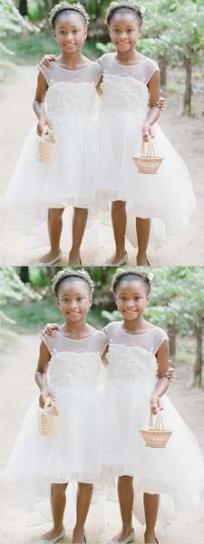 A-Line High Low White Tulle Flower Girl Dress With Appliques Cheap Flower Girl Dresses Cute Flower Girl Dresses, Cute Dresses For Party, Tulle Flower Girl, Tulle Flowers, Girls Dresses, 8th Grade Prom Dresses, Simple Homecoming Dresses, High Low Prom Dresses, Prom Dresses With Sleeves