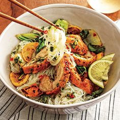 Fiery Thai Noodle Bowl with Crispy Chicken Thighs is part of the Healthy Living on a Budget section in Cooking Light. After you have clicked on this link, you can go exploring in many directions.