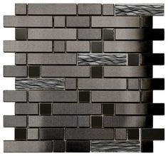 Black Stainless With Black Wave Glass Mosaic Tile, Sheet - modern - tile - by Eden Mosaic Tile