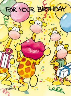 Feestje met giraffen en dikke kus- Greetz