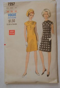 Vintage Vogue Mod Dress Sewing Pattern 7257 by hipandvintage, $7.50