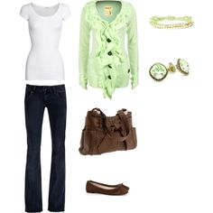 mint green with brown purse and flats...goes well with a cool spring day