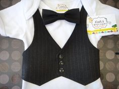 for my nephew jase, maybe? :)    Baby Bow Tie and Vest Onesie, Baby Bowtie Onesie, Baby Tuxedo Onesie, Baby Wedding Outfit, Ring Bearer Outfit