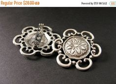 New to Gilliauna on Etsy: HALLOWEEN SALE Two (2) Viking Shoulder Brooches in Floral Design. Norse Historical Renaissance Jewelry by Gilliauna (23.40 USD)