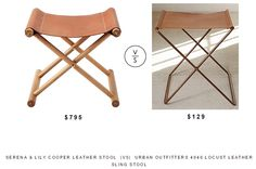 @serenaandlily Cooper Leather Stool  |Vs|  @urbanoutfitters 4040 Locust Leather Sling Stool