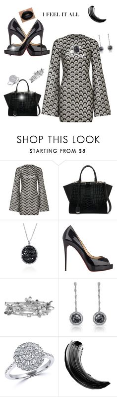 Elegant outfit  black and silver by Diva of Cake  featuring mode, Rubin Singer, Christian Louboutin, Fendi and Effy Jewelry