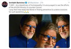 Actor Amitabh Bachchan hopeful of Homeopathy to counter Coronavirus disease Amitabh Bachchan, Homeopathy, Counter, Pray, Encouragement, Actors, Celebrities, Sepia Homeopathy, Actor