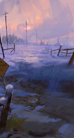 """Road closed ahead"", Dimitar Marinski on ArtStation at https://www.artstation.com/artwork/P2a23"