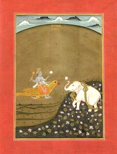 Gajendra Moksha. Vishnu saves the elephant king from the grips of the crocodile. Year, location unknown.