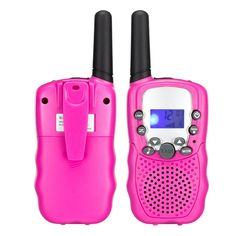 Upgrow Rechargeable Kids Walkie Talkies 22 Channel FRS/GMRS LCD Display 2 Way Radio (1 Pair, Pink)