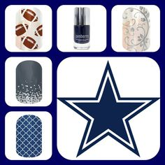 Designer Nail Wraps for football fans. Check this out this combo put together for Dallas Cowboys http://jamminnailstyles4u.jamberrynails.net/