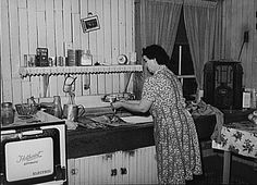 This housewife is washing dishes and listening to her radio (on the right).  Soap Operas - Soaps earned their name from sponsors like Procter and Gamble, Colgate-Palmolive, Manhattan Soap and Lever Brothers, who targeted woman with their mid-day tales which spun never-ending plots about romance and scandal. They began in 1930 and programs like 1937's Guiding Light continue to this day.