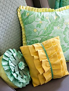 "Ok, so I have this ""thing"" for pillows!  Why not?!  Consider the potential to brighten a room.  I chose to ""love"" these, not for the colours or patterns, but for the VISUAL TEXTURE!  (especially the yellow one!) BHG DIY ""simple-sew pillows"""