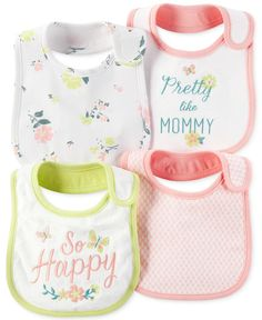 Keep her clean and dry throughout the day, even when she's teething! Carter's bundles these adorable bibs into a convenient four-pack so that you always have one handy when you need it.   Cotton/polye
