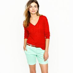 bright red + mint green and neutral makeup and accessories