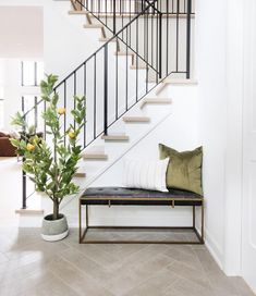Fresh entrance vibes in Leclair Decor 's new project! Tree, pot a… Fresh entrance vibes in Leclair Decor 's new project! Tree, pot and bench from us. Tap to shop! Entryway Stairs, Staircase Railings, Staircase Design, Entryway Decor, Staircases, Bannister, Foyer Bench, Iron Railings, Home Entrance Decor