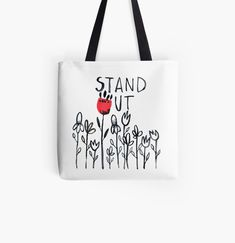 'Stand Out' Tote Bag by MarianaBlackArt Cotton Tote Bags, Reusable Tote Bags, Sell Your Art, Shopping Bag, Printed, Awesome, Stuff To Buy, Products, Prints
