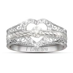 There are three words you can never repeat too often, but now you can say them at least 3 times over with these stunning I Love You diamond stacking rings