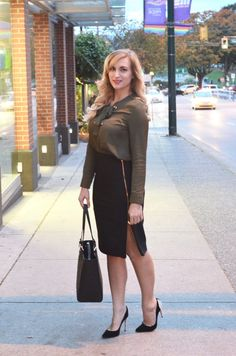 olive lace up blouse with black pencil skirt | Office outfit inspiration! Pin now and read all about why this pencil skirt is so great!