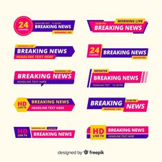 Últimas notícias banner collection Vetor... | Free Vector #Freepik #freevector #bandeira Banners, Infographic Examples, Morning Live, Live Breaking News, Lower Thirds, Live Hd, Ribbon Banner, Ribbons, Vector Free