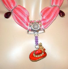 Red Hat Pendant and Soft Pink Scarf Necklace by MyJannyMarie, $44.95